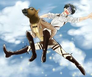 shingeki no kyojin, anime, and funny image