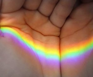 hand, hands, and rainbow image