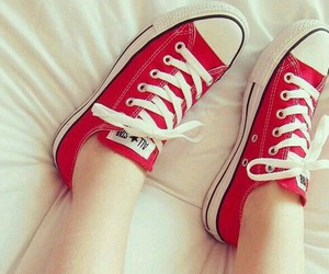 red, shoes, and all star image