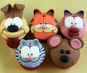 cupcake, garfield, and food image
