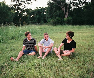 boy, friends, and grass image