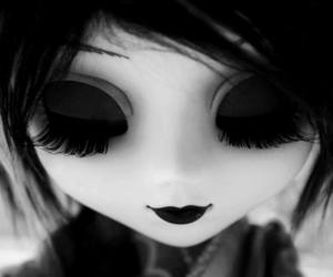 doll, black, and black and white image