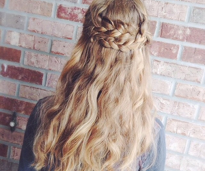 braided, hair do, and long image