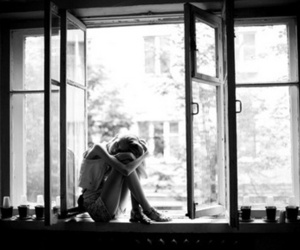 girl, window, and black and white image