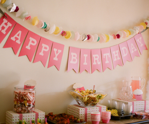 birthday party, bunting, and girly image