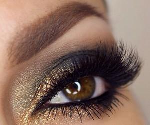 brown eyes, gold, and make up image