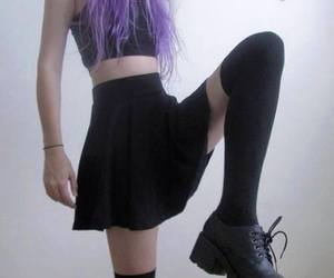 adorable, black, and purple hair image