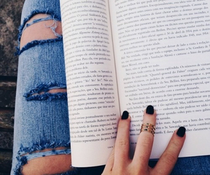 book, nails, and jeans image