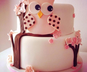 cake, owl, and pink image