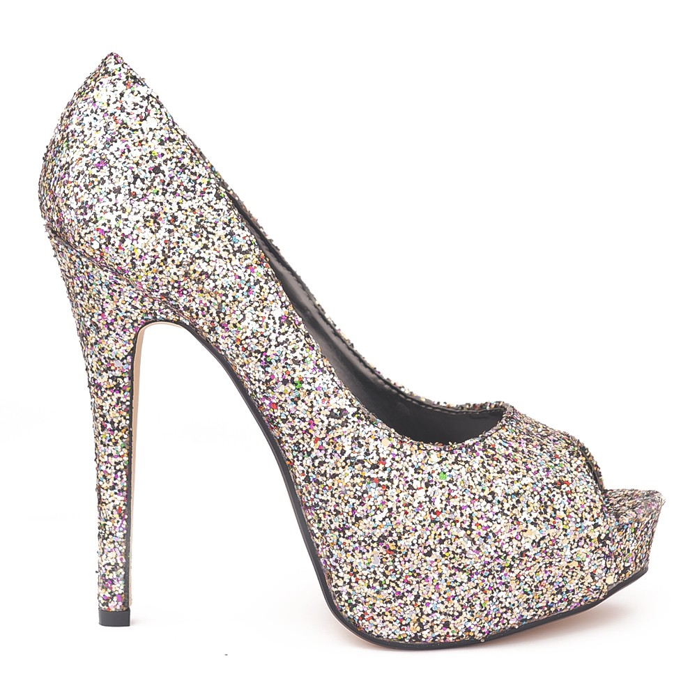 ff1075c04686 ODEON LADIES MULTI SPARKLY PEEP TOE HIGH HEELS SHOES Multi-Colour UK ...