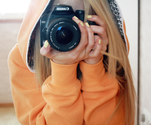 alone, blonde, and camera image