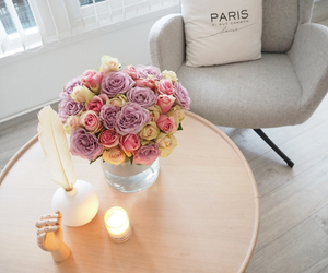 candle, flower, and livingroom image