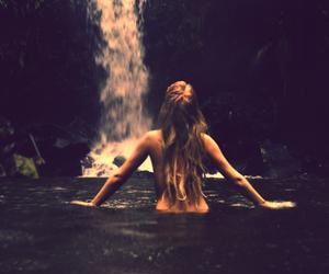 girl, waterfall, and water image
