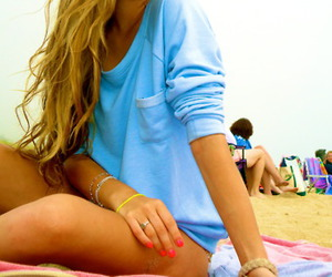 beach, nails, and summer image
