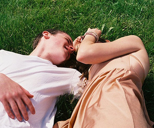 boy, couple, and grass image