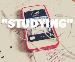 studying, music, and iphone image
