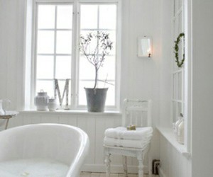 bathroom, interiors, and white interiors image