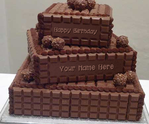 birthday cake, chocolate cake, and layered birthday cake image