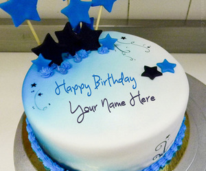 birthday cake, blue cake, and birthday cake name image