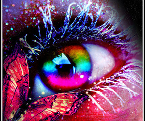 rainbow, eyes, and butterfly image