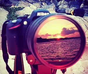 nikon, camera, and sunset image