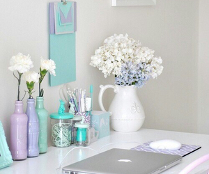flowers, blue, and room image