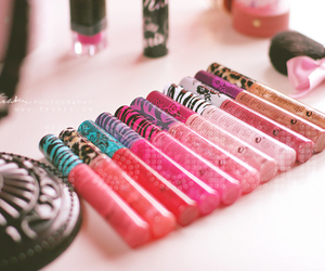 pink, lipgloss, and makeup image