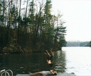 lake, friends, and nature image