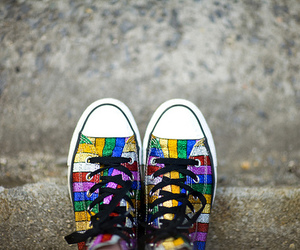 sneakers, glitter, and rainbow image