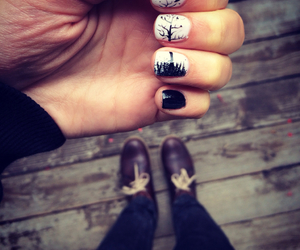 autumn, birds, and nails image