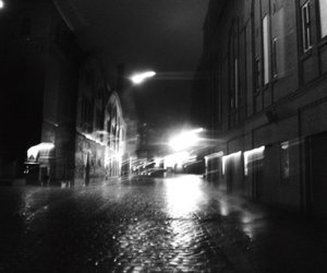 alone, black and white, and lights image