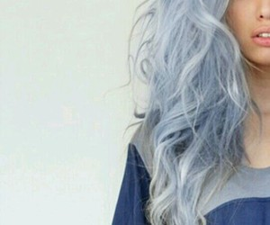 blue hair, blue and silver hair, and gray hair image