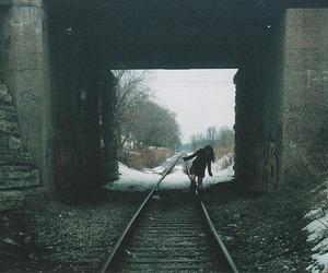 girl, train, and snow image
