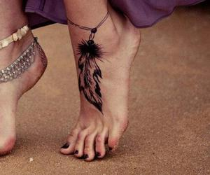 ankle, tattoo, and bracelets image