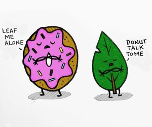 donuts, leaf, and funny image