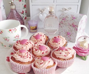 cupcakes, floral, and pink image