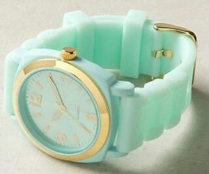 watch, mint, and gold image