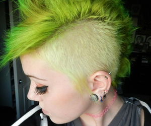 green hair, girl, and Mohawk image
