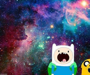 adventure time, JAKe, and galaxy image