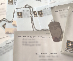 letters, dog tag, and love image