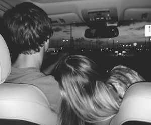 balck and white, love, and car image