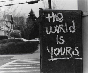 world, black and white, and quotes image