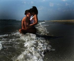 love, beach, and kiss image
