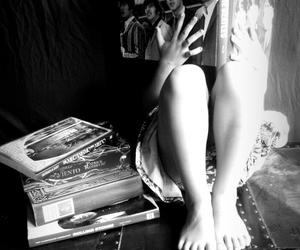 black and white, girl, and books image