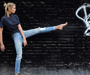girl, jeans, and model image