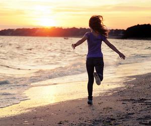 girl, beach, and run image
