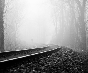 black and white, train, and black image