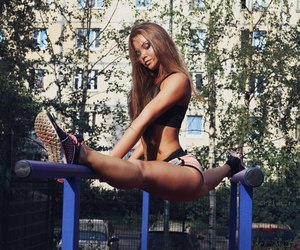 girl, fitness, and flexible image