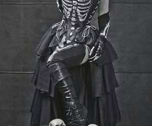 girl, skeleton, and skull image