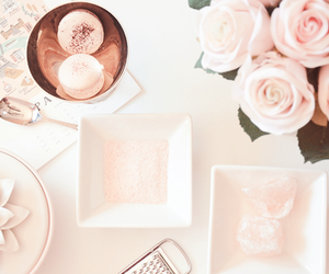 pink, macaroons, and roses image